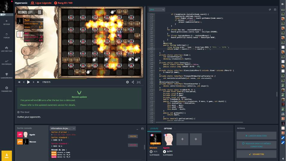 L'interface de l'IDE de Codingame