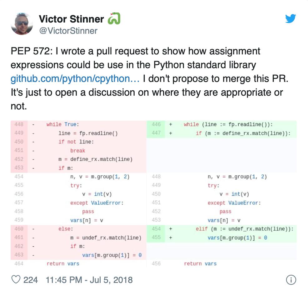 Tweet de Victor Stinner
